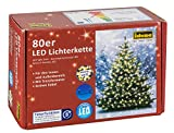 Idena LED Lichterkette 80er, ca. 16 m, für innen/außen, warm weiß