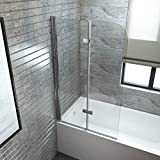 EMKE Duschabtrennung für Badewanne 120x140cm Faltwand, Duschwand Badewannenaufsatz mit 6mm ESG Nano-Beschichtung