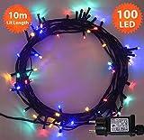 Weihnachts-Lichterketten 100 LED Mehrfarbige Baum-Lichter Innen- und im Freiengebrauch Weihnachtsschnur-Lichter Gedächtnisfunktion, Netzbetriebene feenhafte Lichter 10m/33ft Lit-Länge - Grünes Kabel